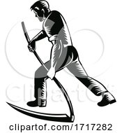 Poster, Art Print Of Organic Farmer Working With Scythe Viewed From Rear Retro Black And White