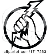 Hand Of An Electrician Holding Lightning Bolt Retro Black And White
