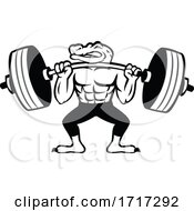 Alligator Weightlifter Lifting Heavy Barbell Mascot Black And White