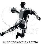 Handball Player Black And White