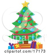 Christmas Tree Topped With A Star And Decorated With Baubles With Presents Underneath It Clipart Illustration