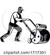 Poster, Art Print Of Gardener Landscaper Groundsman Or Groundskeeper Pushing Lawn Roller Woodcut Black And White