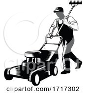 Poster, Art Print Of Gardener Landscaper Groundsman Or Groundskeeper Pushing Lawn Mower Woodcut Black And White