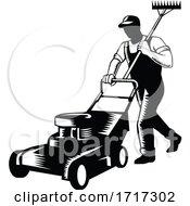 Gardener Landscaper Groundsman Or Groundskeeper Pushing Lawn Mower Woodcut Black And White