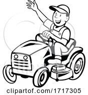 Poster, Art Print Of Farmer Riding Ride-On Mower Waving Hand Cartoon Black And White