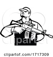Soldier Military Serviceman Holding Assault Rifle Front View Retro Black And White