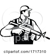 Poster, Art Print Of Soldier Or Military Serviceman With Assault Rifle Looking Side Retro Black And White
