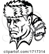 American Folk Hero And Frontiersman Davy Crockett Mascot Black And White
