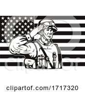 American Soldier Saluting Star Spangled Banner USA Flag