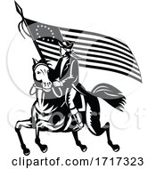 American Patriot Revolutionary General On Horseback With Betsy Rose Flag Retro Black And White