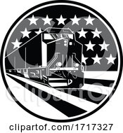 Poster, Art Print Of American Diesel Locomotive Train Front View With Usa Stars And Stripes Flag Retro