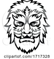 Poster, Art Print Of Circus Wolfman Or Wolfboy Head Mascot Black And White