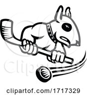 Bull Terrier With Ice Hockey Stick Mascot Black And White