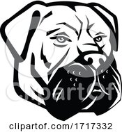 Bullmastiff Dog Head Mascot Black And White
