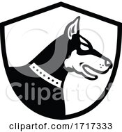Doberman Pinscher Dog Head Side View Crest Retro Black And White