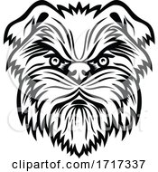 Affenpinscher Monkey Terrier Dog Head Mascot Black And White