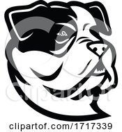 American Bully Bulldog Head Mascot Black And White