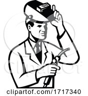 Scientist Researcher With Welding Torch And Welder Visor Black And White