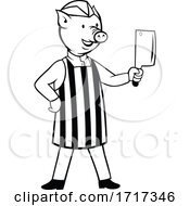 Cartoon Pig Butcher Holding A Cleaver Knife Black And White
