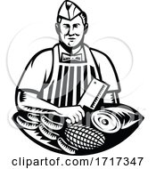 Poster, Art Print Of Butcher With Knife And Meat Cuts Retro Woodcut Black And White