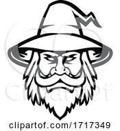 Black Wizard Sorcerer Or Magician Head Mascot Black And White by patrimonio