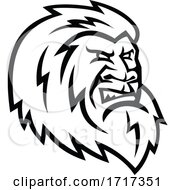 Yeti Or Abominable Snowman Head Mascot Black And White