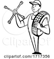Tire Technician Or Tyre Mechanic With Socket Wrench Standing Cartoon Black And White