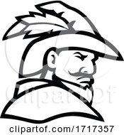 Robin Hood Head Side View Sport Mascot Black And White