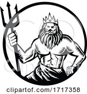 Poseidon Holding Trident Circle Woodcut Black And White