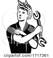 Female Automotive Mechanic With Wrench Flexing Muscle Retro Black And White