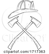 06/26/2020 - Fireman Helmet With Crossed Fire Axe Line Drawing Black And White