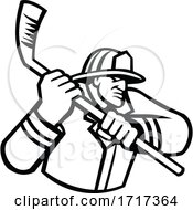 Fireman Playing Ice Hockey Sport Mascot Black And White