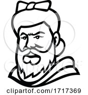 Head Of A Bearded Lady Mascot Black And White