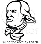 Head Of Benjamin Franklin Mascot Black And White