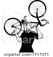 Poster, Art Print Of Bicycle Mechanic Carrying Bike On Shoulder And Holding Spanner Wrench Retro Black And White