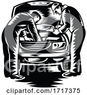 Poster, Art Print Of Automotive Mechanic Car Service And Repair Woodcut Black And White
