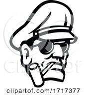 Poster, Art Print Of Army General Head Smoking Pipe Sport Mascot Black And White
