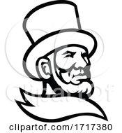 Abraham Lincoln Head Mascot Black And White