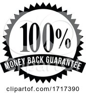 100 Percent Money Back Guarantee Rosette Ribbon Reverse BW CUT