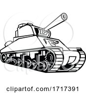 M4 Sherman Medium Tank Mascot Black And White by patrimonio