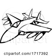American Fighter Jet In Full Flight Black And White