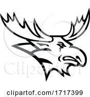 Bull Moose Or Elk Head Mascot Black And White by patrimonio