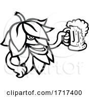 Poster, Art Print Of Hop Plant Drinking A Mug Of Ale Mascot Black And White