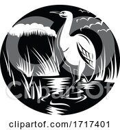 Egret Or Heron In Marsh Circle Woodcut Black And White