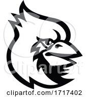 Cardinal Bird Head Mascot Black And White