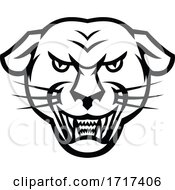 Angry Black Panther Head Baring Fangs Mascot Black And White