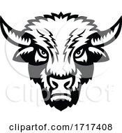 Black And White Demonic American Bison Mascot