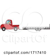 Cartoon Man Driving A Red Truck And Towing A Trailer by djart