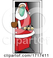 Poster, Art Print Of Cartoon Covid Christmas Santa Wearing A Mask In A Doorway