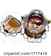 Poster, Art Print Of Pirate American Football Sports Mascot Cartoon